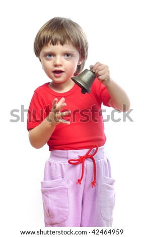 little girl with christmas bell  isolated - stock photo