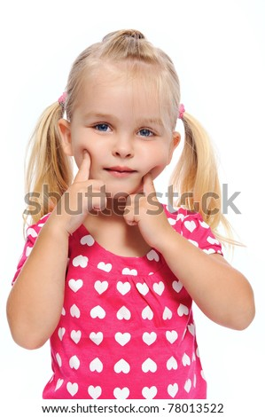 little girl with chubby cheeks pushes her face, isolated on white - stock photo