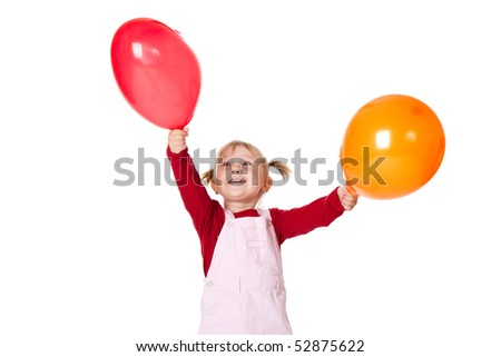 little girl with color ballons - stock photo