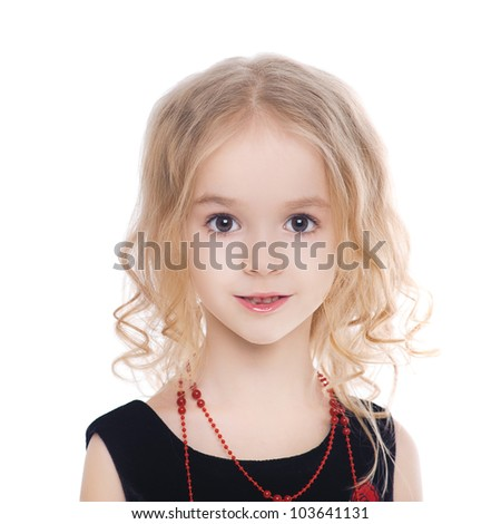 Little girl with curly blond hair isolated on white background looking to the camera - stock photo