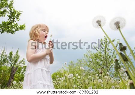little girl with dandelions - stock photo