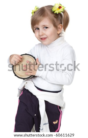 little girl with drum - stock photo