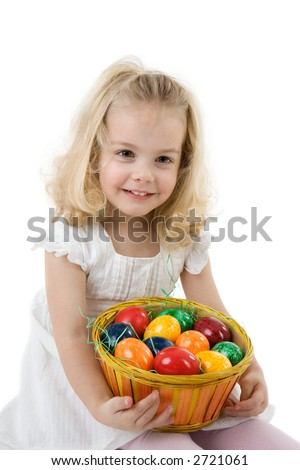 little girl with easter  eggs in a punnet