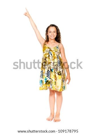 little girl with finger up on a white background