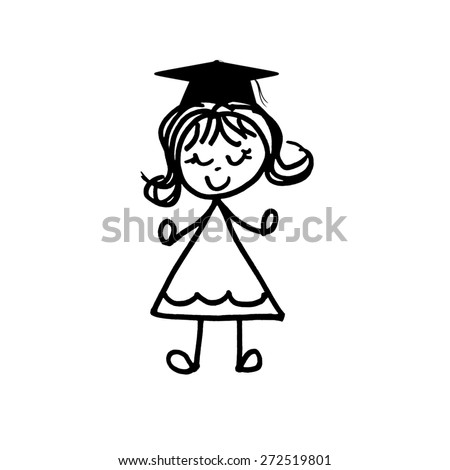 Little Girl with Flip - Graduation - stock photo