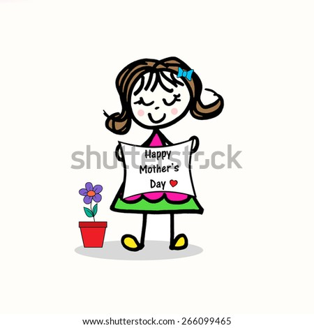 Little Girl with Flip - Happy Mother's Day - stock photo