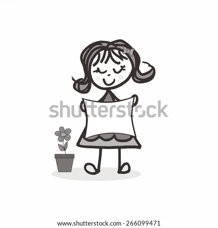Little Girl with Flip - Sign - stock photo