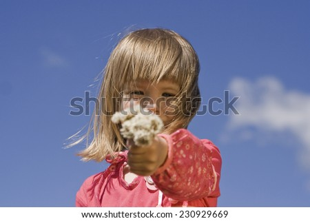 Little girl with flowers of the clover. - stock photo