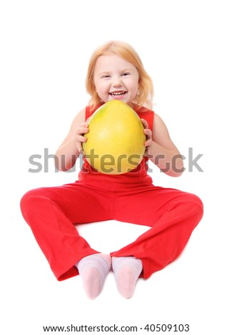 little girl with fruit isolated on white - stock photo