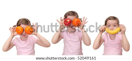 Little girl with fruits isolated on white background - stock photo