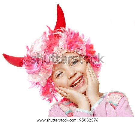 little girl with funny carnival - halloween mask - stock photo