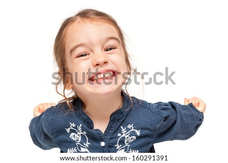 Little Girl with Funny Expression Isolated on White - stock photo