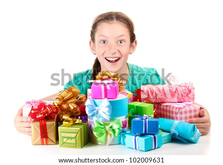 Little girl with gifts isolated on white