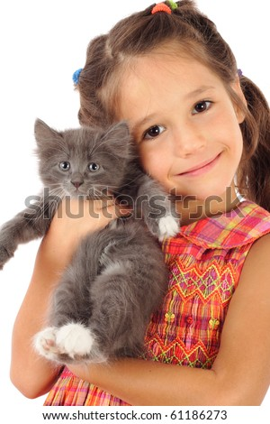 Little girl with gray kitty, isolated on white - stock photo