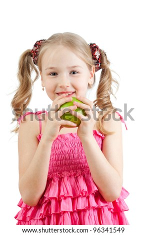 Little girl with green apple.Isolated on white background. - stock photo
