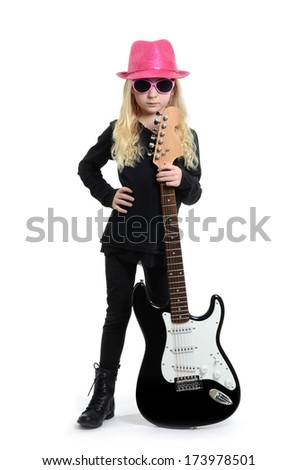 little girl with guitar and pink hat white background - stock photo