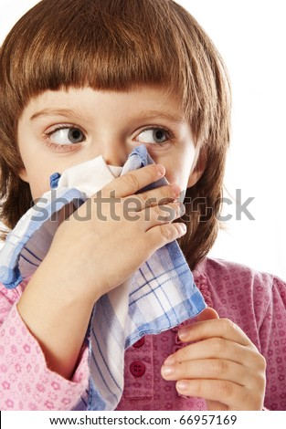 little girl with handkerchief - stock photo