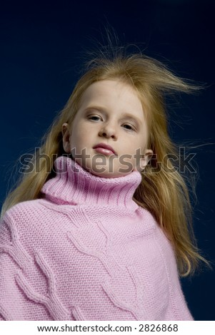 little girl with head up - stock photo