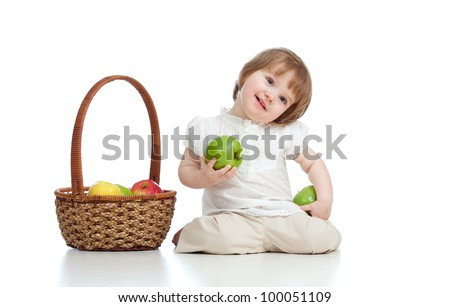 little girl with healthy food apples - stock photo