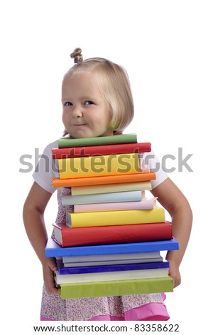 little girl with heavy stack of books. Isolated on white background