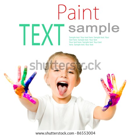 little girl with her ??hands in the paint with sample text - stock photo