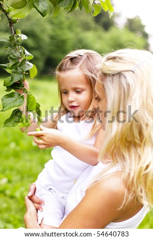 little girl with her mother picking fruits from a tree - stock photo