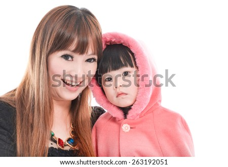 Little girl with her mother-white background