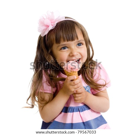 little girl with ice cream in studio isolated