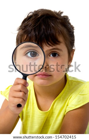 little girl with magnifier isolated on white
