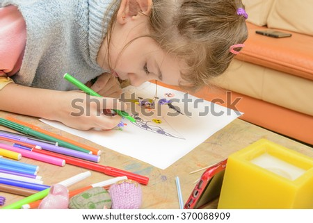 Little Girl with Markers - stock photo