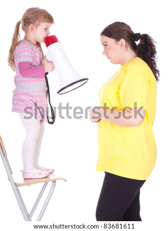 little girl with megaphone and fat mother - stock photo