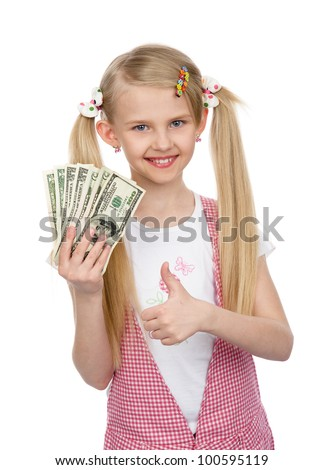 little girl with money - dollars. isolated on white background - stock photo