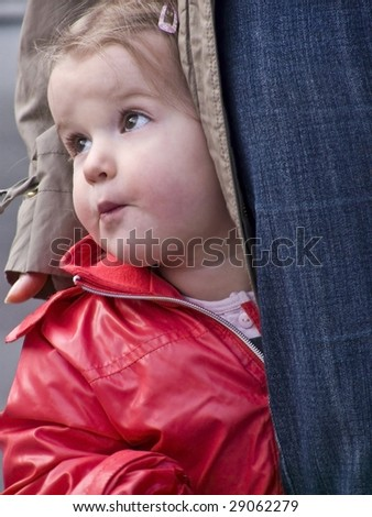Little girl with mother - stock photo