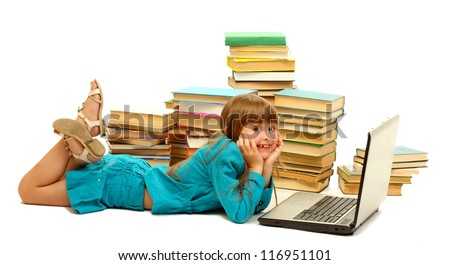 little girl with notebook and books isolated on white