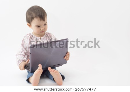 little girl with notebook isolated over white - stock photo