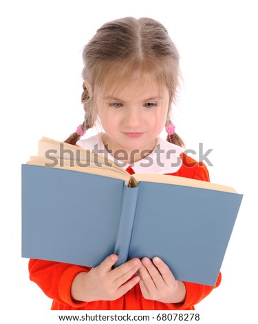 Little girl with open book. On a white background