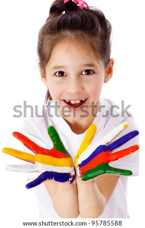 Little girl with painted hands in the shape of a flower, isolated on white - stock photo
