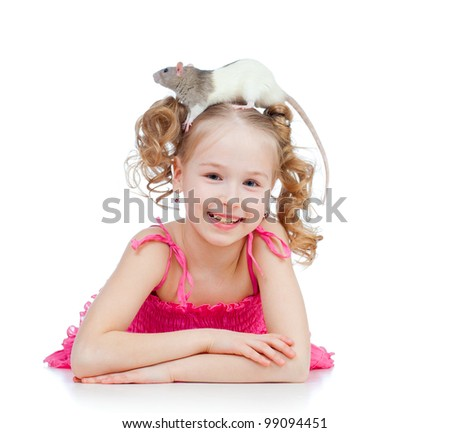 little girl with pet rat on her head - stock photo