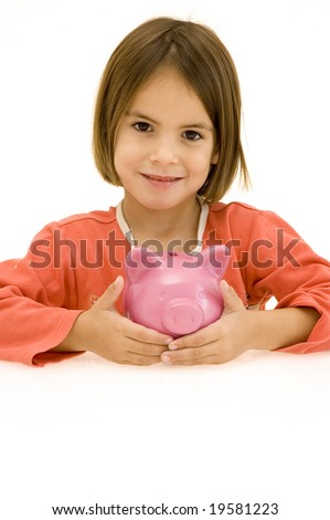 little girl with piggy bank isolated on white
