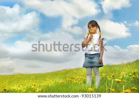 Little girl with pigtails holding dandelions - stock photo
