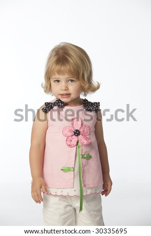 Little girl with pink flower dress