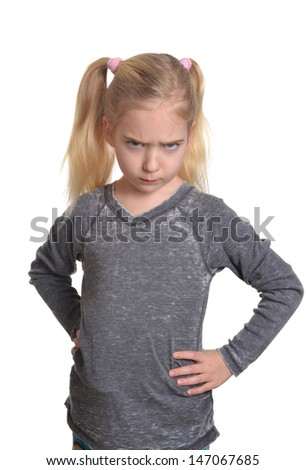 little girl with pout expression - stock photo
