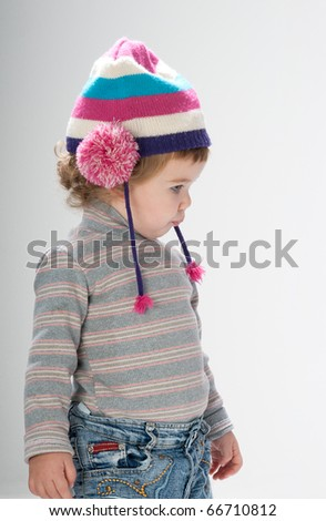 Little girl with pout face - stock photo