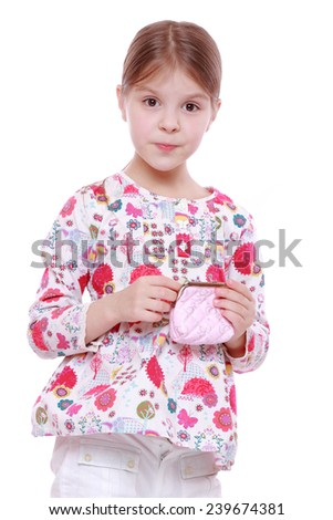 little girl with purse isolated over white - stock photo