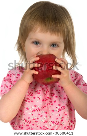 Little girl with red apple isolated on white background
