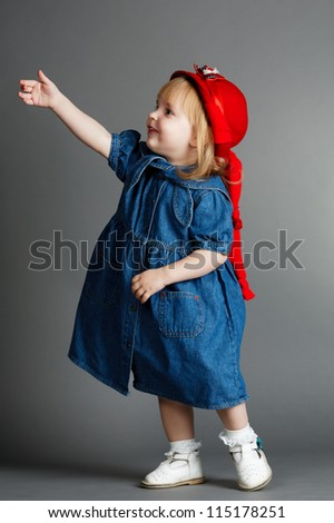 little girl with red hat - stock photo