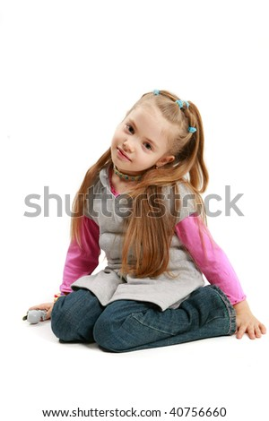 little girl with sad smile over white