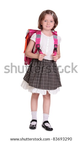 Little girl with schoolbag - stock photo