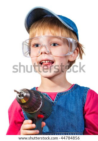 Little girl with screwdriver in hands on a white background - stock photo
