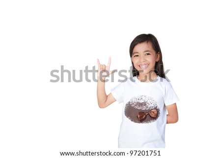 little girl with show i love you sign, Isolated on white - stock photo